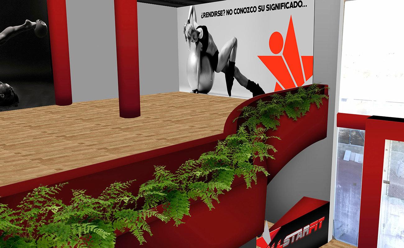 Diseño de Interiorismo para gimnasio AllStarFit por MODO3